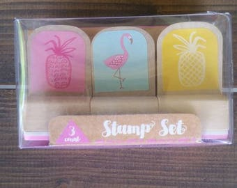 Set of 3 Rubber stamps* Pineapple*Flamingo*Pineapple