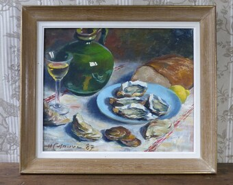 French Oil on Canvas - French Still Life Painting - Framed & Signed by H Casnave - French Decor - French Gastronomy - Oyster Painting