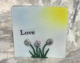 Love, gift, recycled, re-purposed, stone, hand made, tile, air brushed, polymer clay, jewels