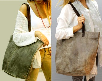 Sale!!! Extra large leather tote bag, extra large leather carry all, Distressed Brown oversize leather bag, women leather tote bag
