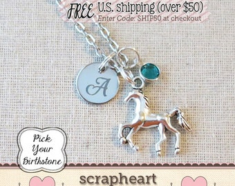 HORSE Necklace, Pony Necklace, CUSTOM Horse Charm Necklace, PERSONALIZED Horse Lover Gift, Horse Party Favors, Equestrian Gifts for Her