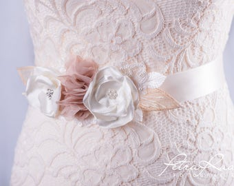 Bridal belt bridal gown belts lace wedding dress beige G2