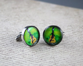 Resin cufflink, guitar, acoustic, green, music, round or square