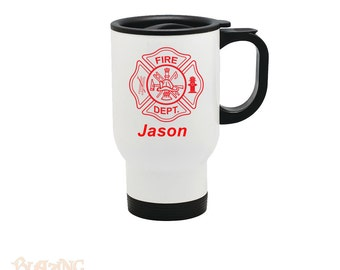 Personalized Fire Department 14 ounce White Stainless Steel Travel Mug