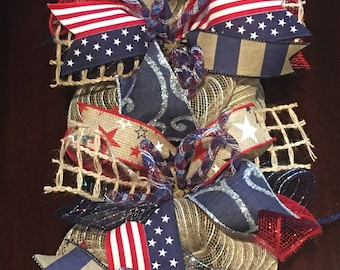 4th of July garland, Patriotic garland, garland, 4th of July mantle swag, mesh Patriotic garland, Fourth of July garland, Fourth of July