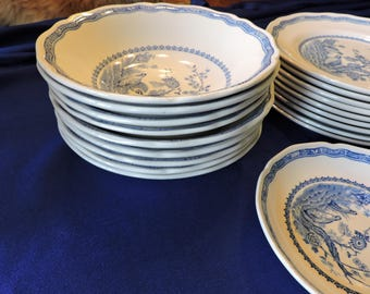 Furnivals Blue Quail China Soup Bowls Scalloped Top Rim Round Backstamp 1913c Sold in Pairs Only