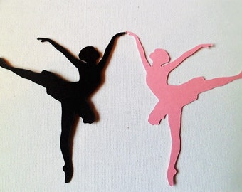 Silhouette Die Cut Ballerina's x 10 (5 of each colour)