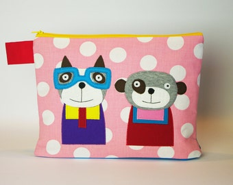 """Diaper bag/cosmetic bag """"Dog with glasses and bear"""""""