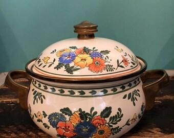 Vintage M. Kamenstein Metal Floral Enamel Cookware Pot