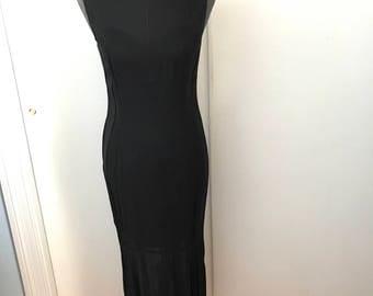 Vintage Black Gown Sweetheart Illusion Neckline