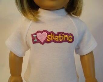 Skating T Shirt for American Girl Doll and 18-inch Dolls – White Knit I Love Skating Shirt
