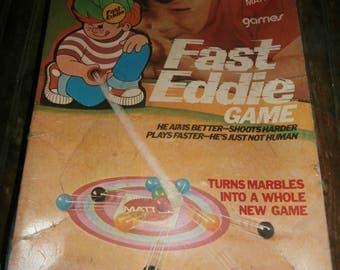 Vintage board game family fun night Mattel Fast Eddie marble shooting game complete hard to find