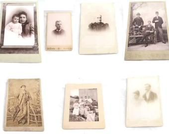 Antique Cabinet Cards Lot |  7 Piece Lot Black and White Photos |  Antique Photography
