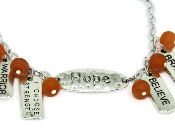 Multiple Sclerosis Support Bracelet MS Jewelry RSD CRPS Chronic Regional Pain Syndrome Orange Awareness Bracelet Leukemia Kidney Disease Mom