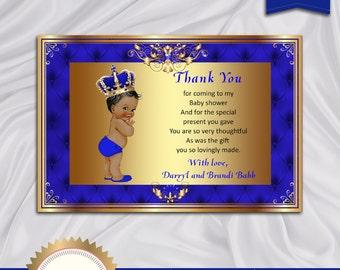 Printable Baby Shower Thank You Card, Little Prince, Royal Baby Shower, Baby Boy, African American, Royal Blue, Gold - Digital file