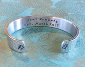 Aunt Gift | Auntie Gift | Sister Gift | Pregnancy Reveal | Aunt (name) Est. (due date, Month, year)Hand Stamped Bracelet by MadeByMishka.com