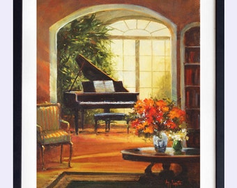 Print of Still life  painting, gift for her, Maine art, art print, Wall decor, Interior, oil painting, Piano, Barbara Applegate