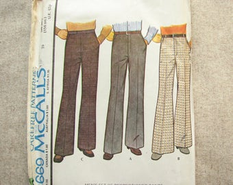 1970s mens trousers pattern, McCall 4669 pants pattern in 3 variations, waist 99 hip 114cm, uncut