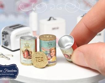 Mini TEA TIN with Removable Lid -miniature handmade Dollhouse kitchen 1:12 scale