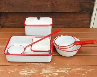 7 Enamelware Pieces,  Vintage Enamel Bins, Bowls, Pots and Pans, Red and White Enamel Collection
