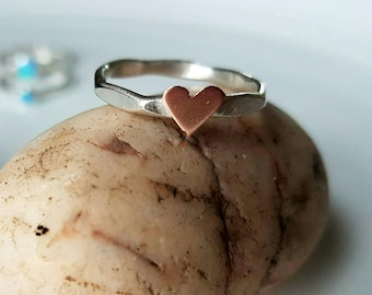 Sterling silver stacking ring with hand pierced copper heart made to order using 2mm diameter wire with a contemporary finish. Made in Wales