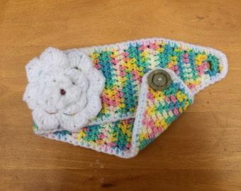 Pastel Rainbow Headwarmer with White Flower| Button Earwarmer | Pink, Yellow, Blue, White, Green Headband