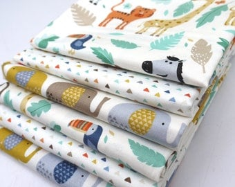 COTTON FABRIC BUNDLE Baby Jungle - 6 x Fat Quarters of 100% premium cotton