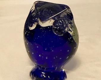 Vintage Lefton Cobalt Blown Glass Owl Paperweight