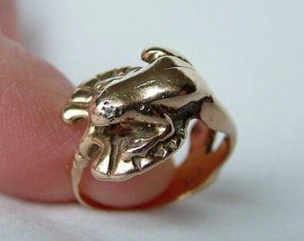 Frog On Lily Pad Gold Ring 4.99 Grams * Frog Gold Ring * Reptile Gold Ring * Frog Ring * 9ct Gold Frog Ring * 9k Gold Frog Ring * Amphibian
