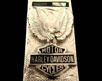 Harley Davidson Money Clip w/ Abalone Silver Plated