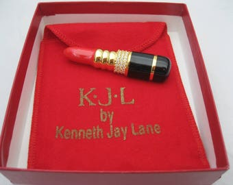 Kenneth Jay Lane KJL Lipstick Brooch Pin