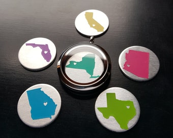 Home State Window Plate-Personalize with Heart Over Your City or Town-Fits 30mm (Large) Lockets