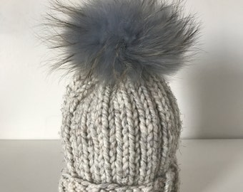 Bone Multi Rib Hat w. Fur POM POM
