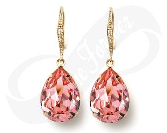 Bridesmaid Gold Earrings Peach Rose Earrings Peach Earrings Bridal Jewelry Gold Bridesmaid Jewelry Gold Bridal Jewelry Wedding Earrings
