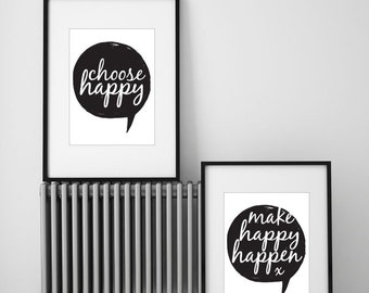 Happiness Prints, set of 2 A4.  Motivational Print Collection