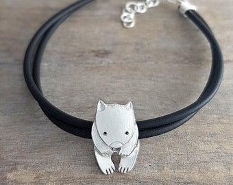 Wombat bracelet Sterling silver on rubber