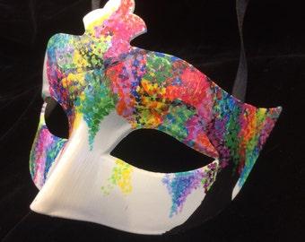 Hand-painted Rainbow Neon Tree Masquerade Mask