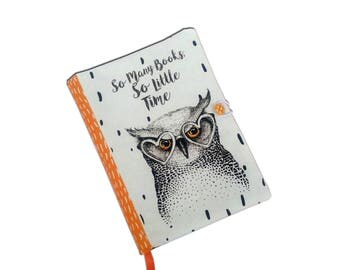Book Cover Handmade, Book Cover owl, So many books, Fabric, Notebook Cover, book lovers, UK Seller,  Owl Accessories, Fabric book cover