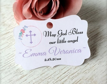 Baptism favor tags, christening tags, baby baptism tags, first communion tags, religious tags, cross favor tags, favor tags -30 count(rt6)