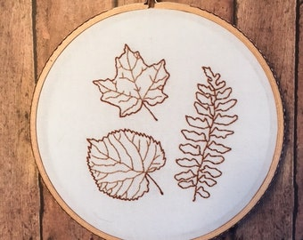 Two Leaves and a Frond embroidery