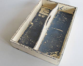 Vintage wooden cutlery tray, chippy paint, blue and cream.
