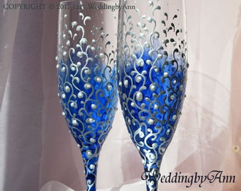 Royal Blue Wedding Glasses, Blue Wedding, Wedding Champagne Flutes, Bride And Groom, Personalized Toasting Flutes, Wedding gift