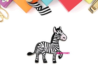 Dancing Baby Zebra New Sew / Iron On Patch Embroidered Applique Size 7.7cm.x7.1cm.