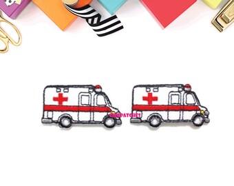 Set 2pcs. Little Ambulance New Sew / Iron On Patch Embroidered Applique Size 4.7cm.x2.5cm.