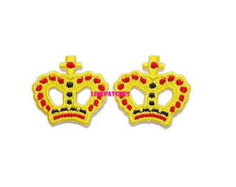Set 2pcs. Crown Patch - Yellow Little Crown New Sew on / Iron On Patch Embroidered Applique Size 3.4cm.x3.2cm.