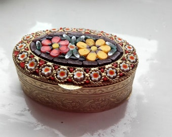 Vintage Flower Micro Mosaic Italian Pill Box Gold Over Brass 40's
