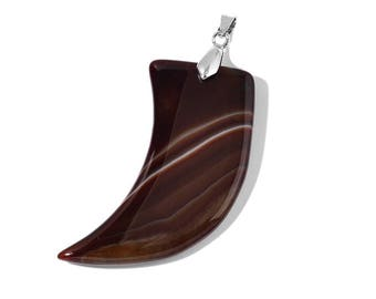 Horn Brown Agate Pendant Silver-Tone Without Chain TGW 90.00 Cts.