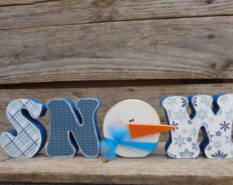 Winter Decor- Snow Decor- Snowman Decor- Snow Letter Set With Snowman