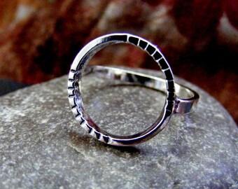 Silver hammered Circle Ring  Simple circle ring