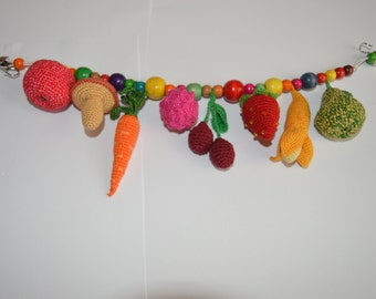 Crochet Stroller Toy, Baby Rattle- Veggies, Sensory Car Seat Toy, ecofriendly crochet toy